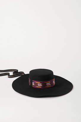 Etro Cappello Gaucho Embroidered Grosgrain-trimmed Wool-felt Hat - Black