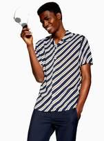 TopmanTopman Navy and Mustard Diagonal Stripe Revere Shirt