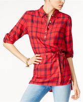 Tommy Hilfiger Selena Belted Plaid Shirt, Only at Macy's
