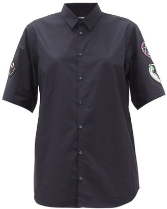 Raf Simons Sleeve-applique Cotton-poplin Shirt - Navy