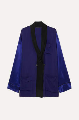 Haider Ackermann Two-tone Crepe And Silk-satin Shirt - Blue