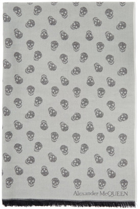 Alexander McQueen Grey Wool and Silk All Over Skull Scarf