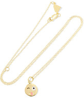 Alison Lou Small Crazy Face Enameled 14-karat Gold Necklace - one size