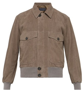 Thom Sweeney - Perforated Suede Bomber Jacket - Grey
