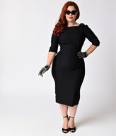 Stop Staring Plus Size 1950s Black Three-Quarter Sleeved Belize Stretch Wiggle Dress