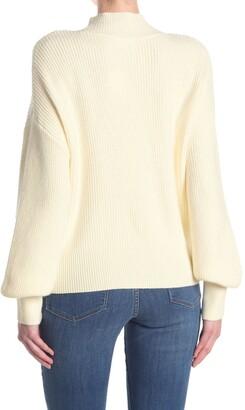 Elodie K Mock Neck Balloon Sleeve Sweater