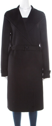 Joseph Black Cashmere Wool New Lima Belted Wrap Coat S