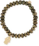 Sydney Evan 8mm Champagne Pyrite Beaded Bracelet with 14K Hamsa Charm