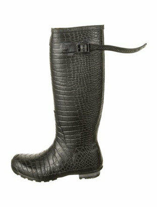 Jimmy Choo X Hunter Embossed Rubber Rain Boots Grey
