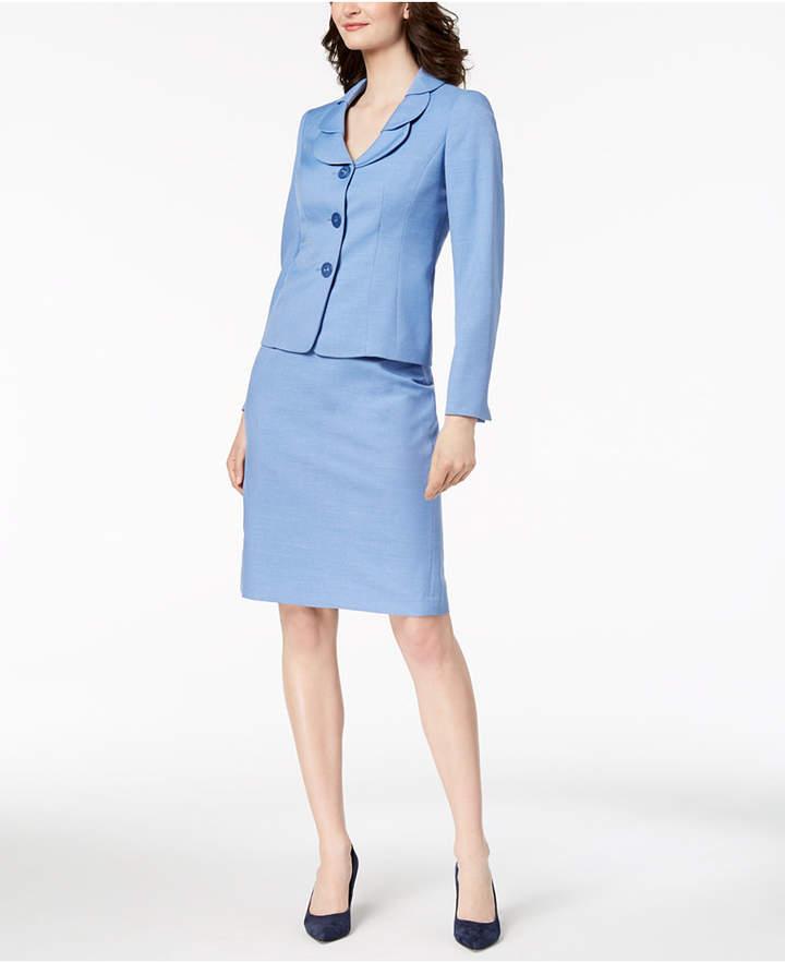 Glazed Melange Three-Button Skirt Suit