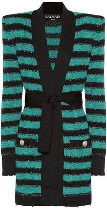 Balmain Embellished striped cardigan