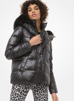 Michael Kors Faux Fur-Trim Cropped Puffer Jacket