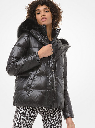 Michael Kors Faux Fur-Trim Cropped Puffer Jacket