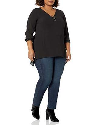 NY Collection Women's Plus Size Long Sleeve Solid Y Neck Woven Blouse with Metal Ring Trim