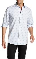Bugatchi Glasses Print Long Sleeve Classic Fit Shirt