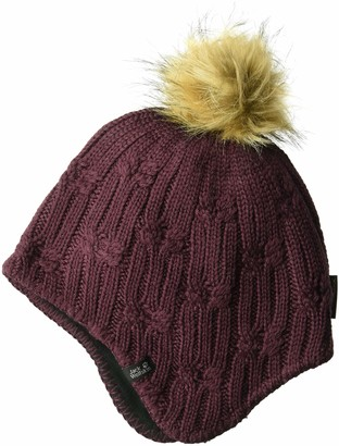 Jack Wolfskin Women's Storm Lock Braid Windproof Knitted Beanie with Faux Fur Pom-Pom Hat