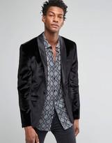 Asos Skinny Velvet Blazer In Black