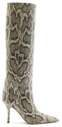 Paris Texas Mama Python-effect Leather Knee-high Boots - Beige Multi