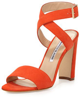 Manolo Blahnik Tondala Suede Ankle-Wrap Sandal, Orange