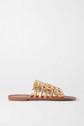 Souliers Martinez Estrella Woven Metallic Leather Slides - Gold