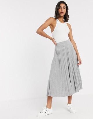 Asos DESIGN pleated midi skirt in grey marl