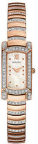 Bulova Ladies Rose Goldtone Glitz Bracelet Watch