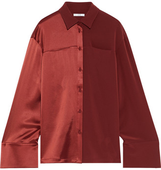 Co Paneled Satin And Crepe Shirt