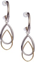 Candela Two Tone J-Hoop & Double Pear Shape Charm Earrings
