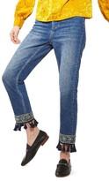 Topshop Women's Embellished Hem Straight Leg Jeans