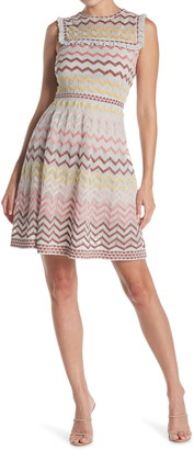 M Missoni Chevron Striped Ruffle Knit Dress