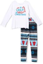 Beary Basics White 'Miss X-Mas' Long-Sleeve Tee & Leggings - Toddler & Girls