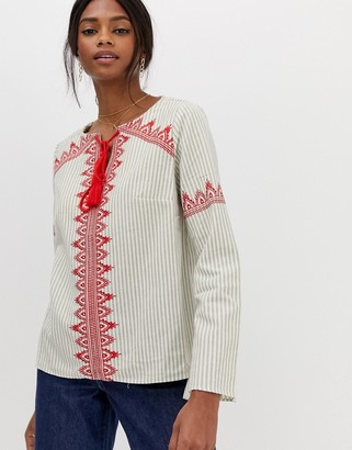 The Jetset Diaries Essence Embroidered Tassel Blouse