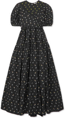 Cecilie Bahnsen - Anna Tie-detailed Tiered Fil Coupe Cotton-poplin Dress - Black