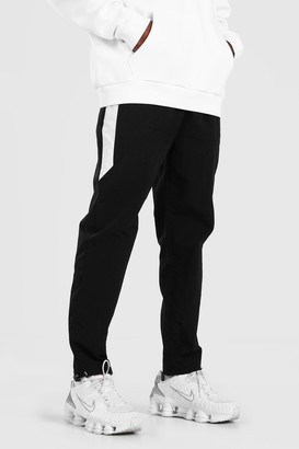 boohoo Mens Black Crinkle Shell Trouser With Colour Block Side Panel, Black