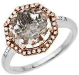 Lord & Taylor White Quartz and Diamond Ring in Sterling Silver with 14K Rose Gold