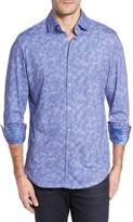 Stone Rose Men's Slim Fit Wavy Diamond Print Sport Shirt