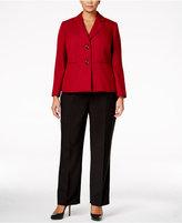 Le Suit Plus Size Contrast Tweed Two-Button Pantsuit