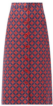 Gucci Circle-jacquard A-line Cotton-blend Skirt - Red Multi