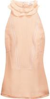 A.L.C. Grace Ruffled Pintucked Silk-Georgette Top