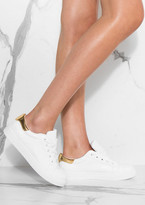 Missy Empire Hani White Metallic Gold Detail Trainers