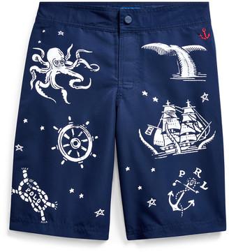 Ralph Lauren Nautical-Print Swim Trunk