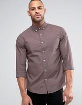 Asos Textured Twill Shirt In Purple In Regular Fit