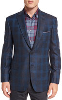 Brioni Plaid Two-Button Jacket, Gray/Blue