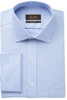 Tasso Elba Men's Classic-Fit Non-Iron French Cuff Blue End-on-End Tattersall Dress Shirt, Created for Macy's