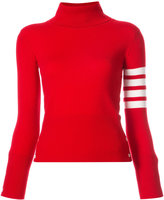 Thom Browne Turtle Neck With White 4-Bar Stripe In Red Cashmere