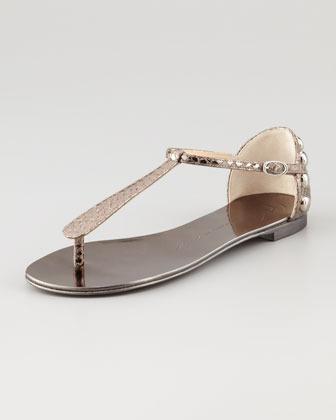 Giuseppe Zanotti Metallic Flat Thong Sandal, Anthracite