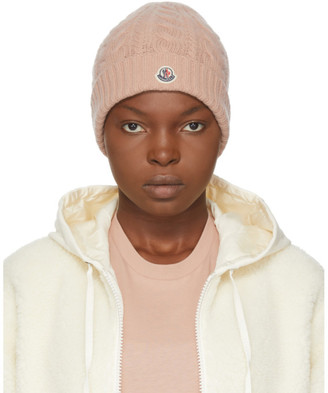 Moncler Pink Cashmere Logo Beanie