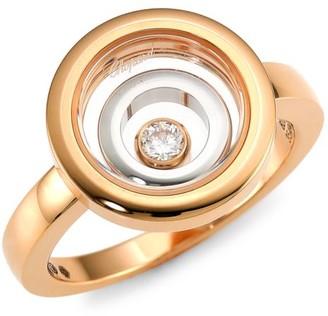 Chopard Happy Spirit 18K Rose & White Gold & Diamond Double Circle Ring