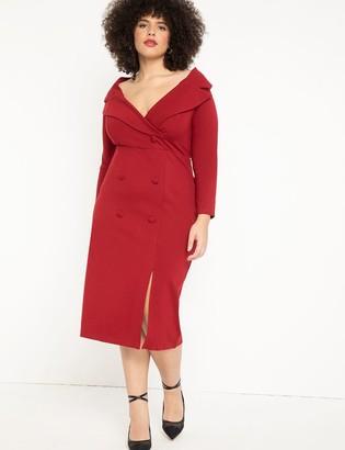 ELOQUII Portrait Neckline Collared Dress