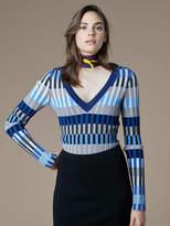 Diane von Furstenberg V-Neck Fitted Knit Pullover